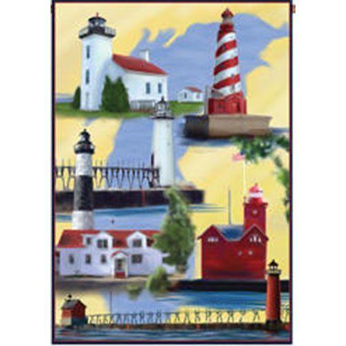 Michigan Lighthouses Flag