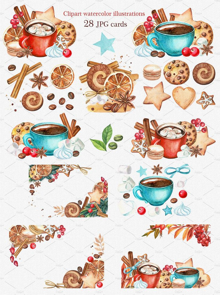 Christmas sweets clipart watercolor by Gringoann on @creativemarket