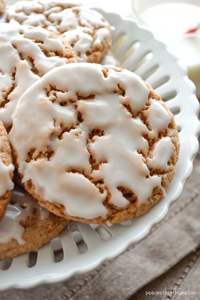 Iced Oatmeal Cookies | Ingredients 2 cups old-fashioned rolled oats 2 cups all purpose flour 1 tablespoon baking powder 1/2 teaspoon baking soda 1/2 teaspoon salt 2 teaspoons cinnamon 1/2 teaspoon ground nutmeg 1 cup (2 sticks) butter, softened 1 cup light brown sugar 1/2 cup sugar 2 large eggs 1 teaspoon vanilla extract 2 cups confectioners sugar 3 tablespoons milk