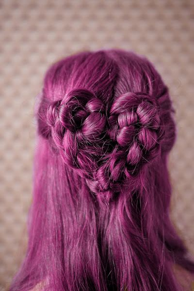 Half-up magenta purple hair with braided heart.