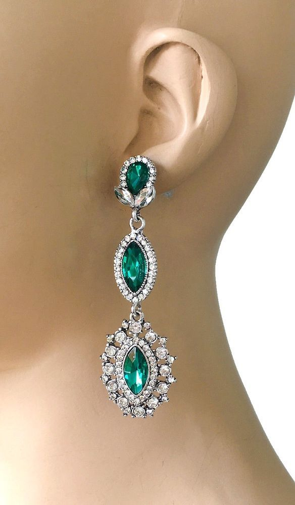 "3"" Long Evening Earrings, Green Acrylic Rhinestones & Glass, Pageant, Bridal  #Unbranded #DropDangle"