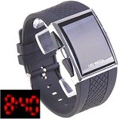 Unisex Fashion Digital LED Date/ Time Quartz Wrist Watch w/ Black Rubber Strap for Woman Man