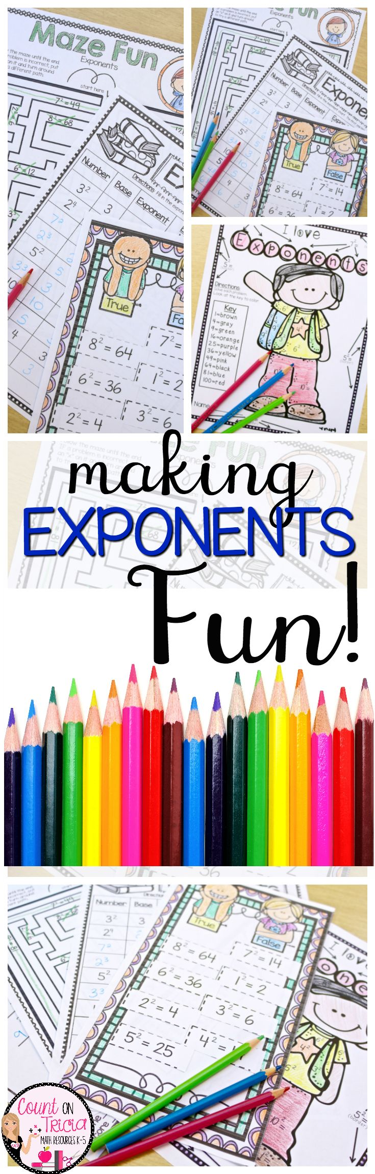 Exponents! Exponent practice and activities for beginners! Use these exponent pages for math centers or stations, buddy activities, peer tutoring, small group instruction, or homework. These 11 activities are great for your 4th & 5th grade classroom or home school students. Games included are greater than less than, missing bases, tic tac toe, a maze, color by code, rolling for fluency, interactive foldables, bookmark, and more. Grab yours now! {fourth & fifth graders, homeschool, mental…