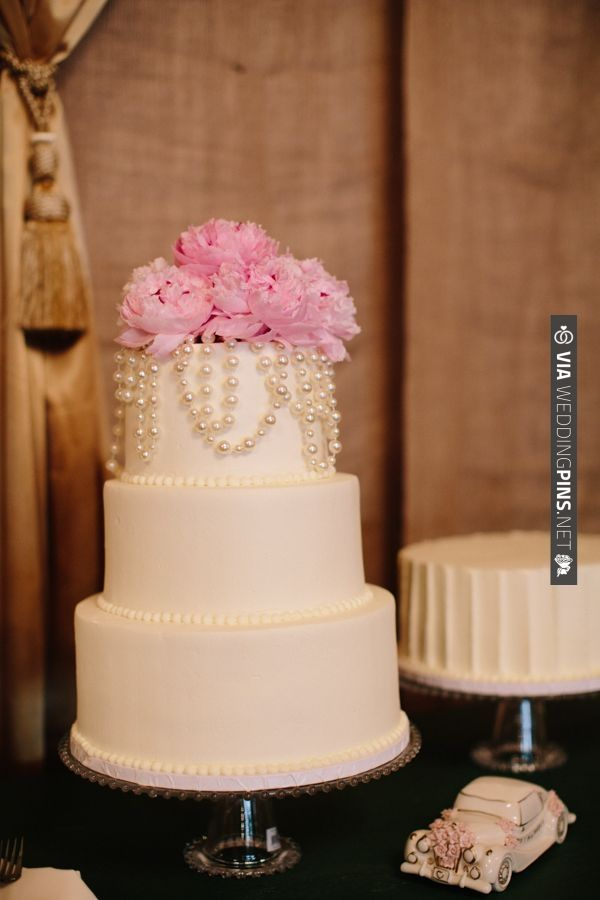 pearl and peony topped wedding cake by The Cake Shop | CHECK OUT MORE IDEAS AT WEDDINGPINS.NET | #weddingcakes