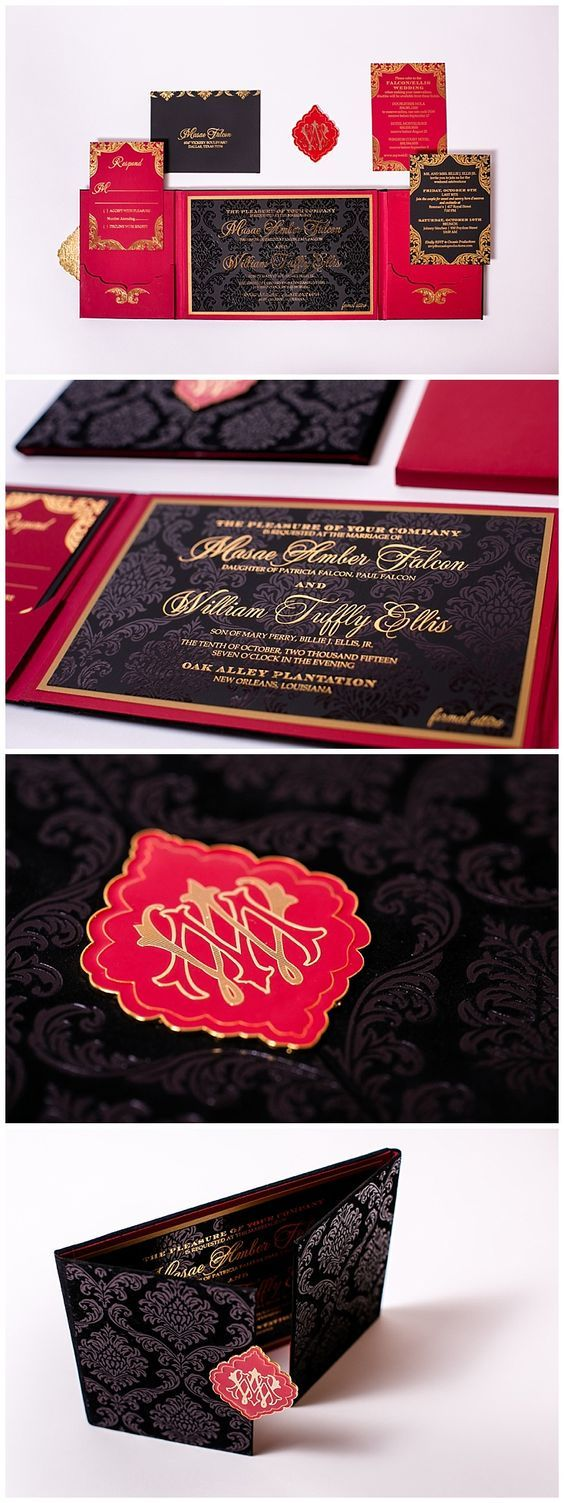 Velvet invitations in red black and gold