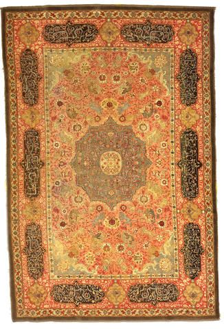 Turkish Hereke silver thead rug, early 19th c