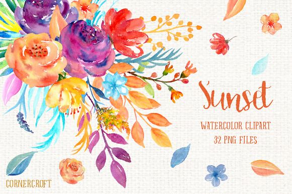 Watercolor Clipart Sunset by Corner Croft on @creativemarket