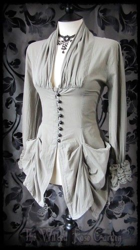 ♥♥ Steampunk Victorian Olive Khaki Hitched High Collar Bustle Top 14 Romantic Goth | eBay
