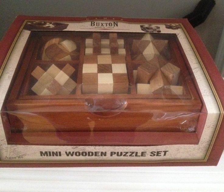 Buxton Mini Wooden Puzzle Set In Oak Finish Storage Box
