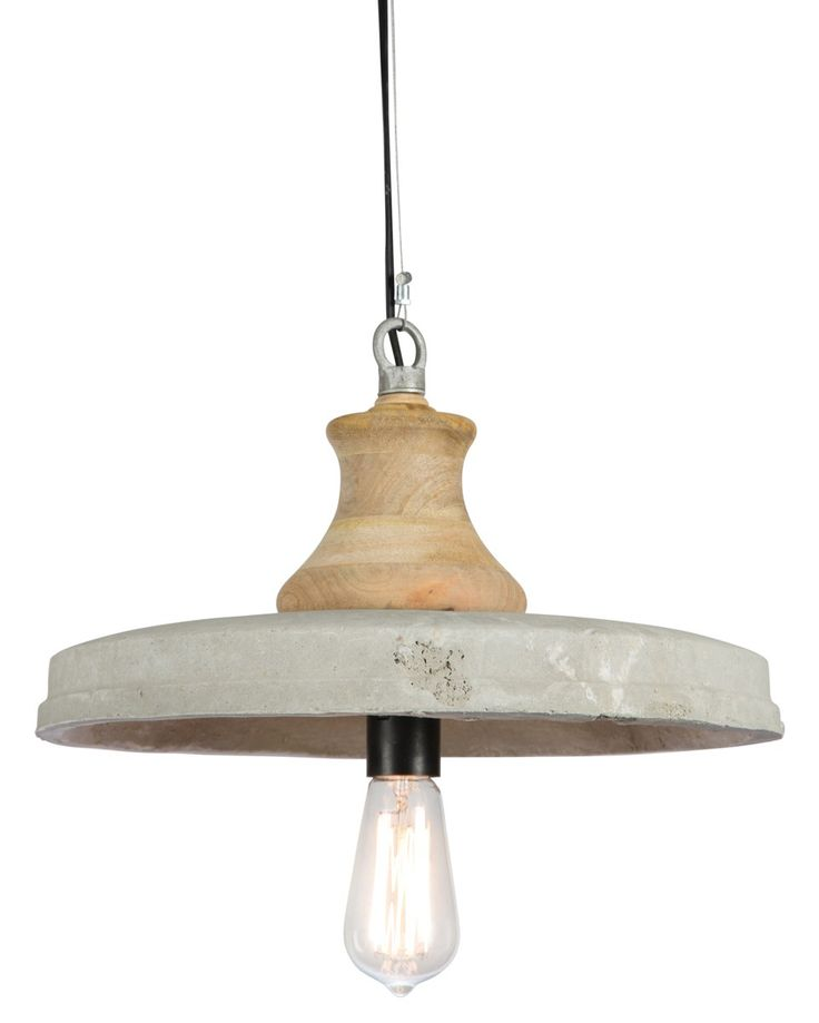 Raw and Rustic Lighting Piece, Wood and Cement