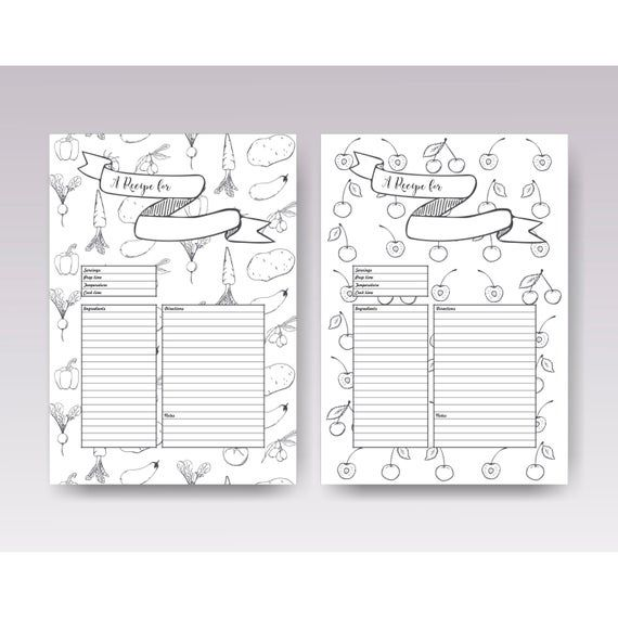 Recipe Template Printable Recipe Pages Layouts Blank Recipe Etsy Recipe Template Printable Recipe Template Recipe Cards Template