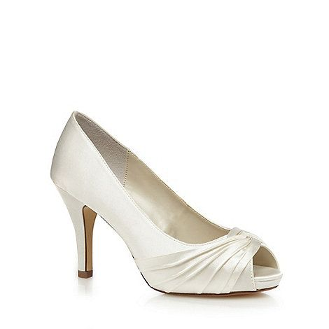 These elegant heels from Debut come in a soft ivory hue with a gathered satin design. Finished with a peep toe and feminine stiletto heel, the shoes are the perfect finishing accessory for smart and formal occasions.