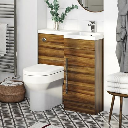 MySpace Walnut right handed unit with Oakley back to wall toilet