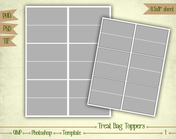 Treat Bag Toppers Digital Collage Sheet Layered Template