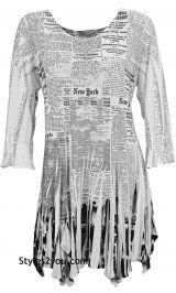 RC Bebe Newsprint Tunic With Rhinestones In Black & White
