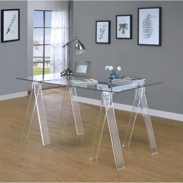 Writing Desk With An Acrylic Base Clear Tempered Glass Top