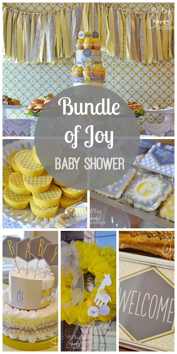 Fantastic grey and yellow baby shower ideas! Love that diaper cake! See more party ideas at CatchMyParty.com.