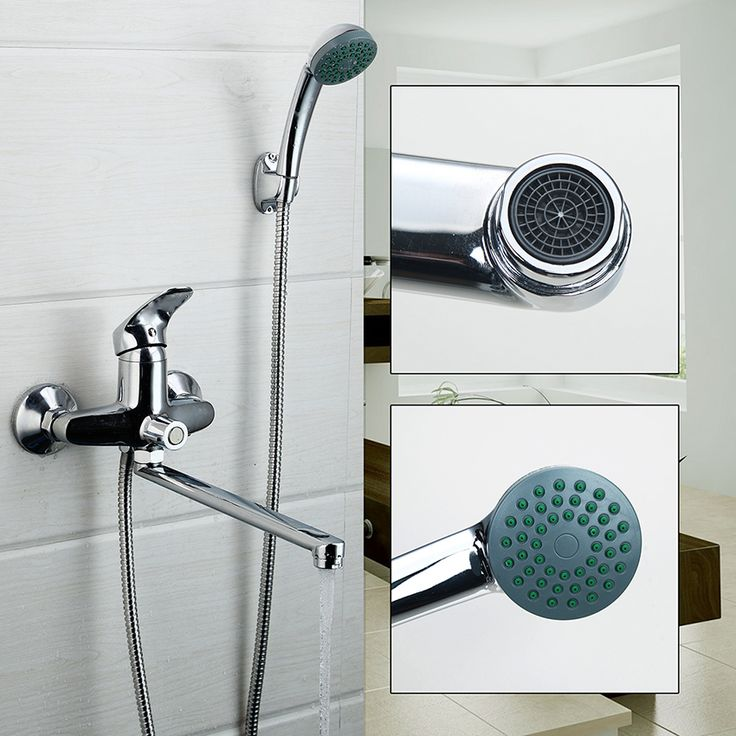 RU Wall Mounted  Bathroom Shower Faucet Bath Faucet Mixer Tap With Hand Shower Head Shower Faucet Set Long Spout #Affiliate