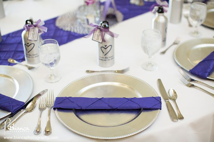 Purple pintuck napkins, Purple pintuck table runner, Silver charger plate are in Kono's inventory and available to Kono's clients