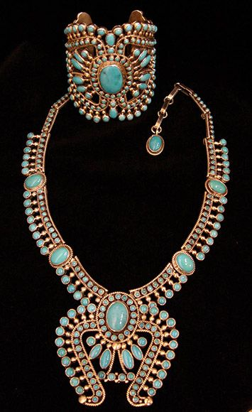 Alice Lister (Navajo) Sleeping Beauty turquoise filigree necklace & cuff.