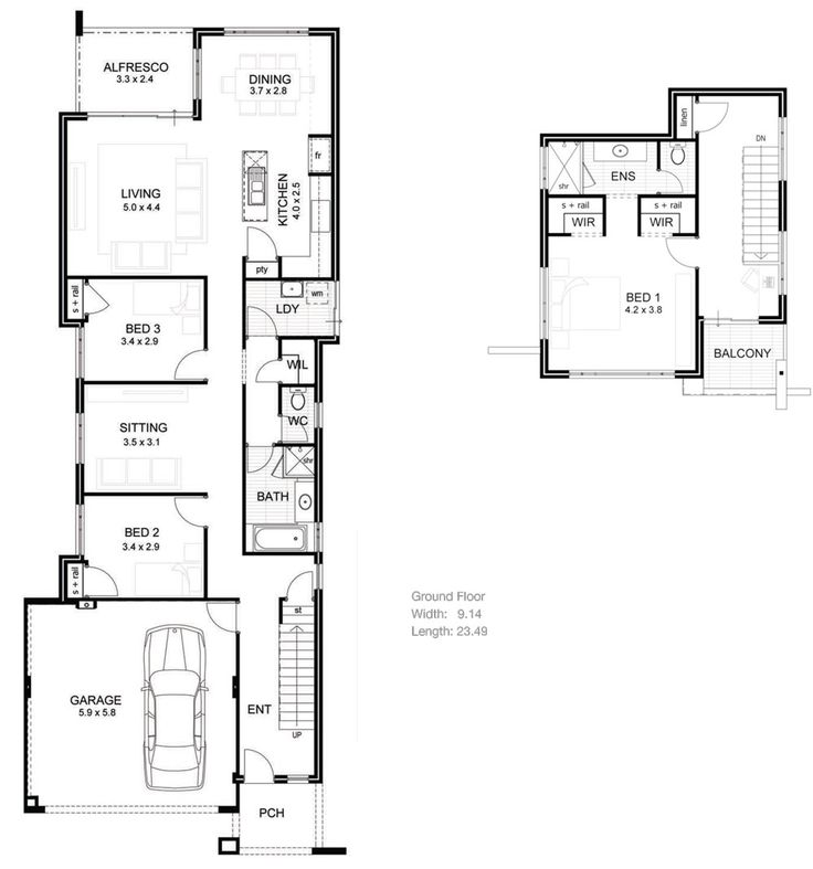 Drawing Of Small Lot House Plan Idea: House Plans For Narrow Lots