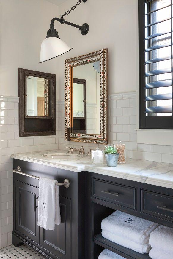 We Love Mixing In Reclaimed And Vintage Items Into Newly Built Spaces In This Boy S Bathr Bathroom Vanity Designs Narrow Bathroom Vanities Very Small Bathroom
