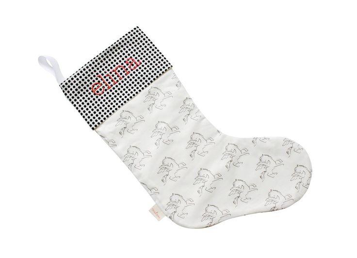 Unicorn Kids Christmas Stocking  - Black & White Unicorn w Black Dot Cuff | Customizable Embroidered Kids Stocking | Cotton Flannel Lining by mitanidesigns on Etsy https://www.etsy.com/listing/255622863/unicorn-kids-christmas-stocking-black