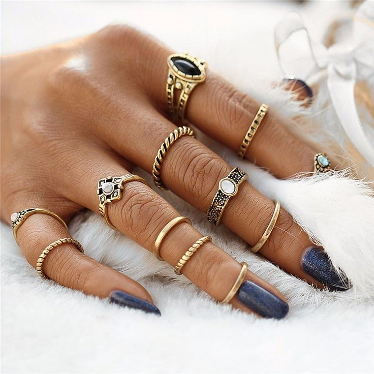 Unique and lovely ring set, perfect for ethnic style lovers, and for anyone who likes special pieces of jewelry. Made from high quality alloy with Silver or Gold Plating and accents of semi precious c