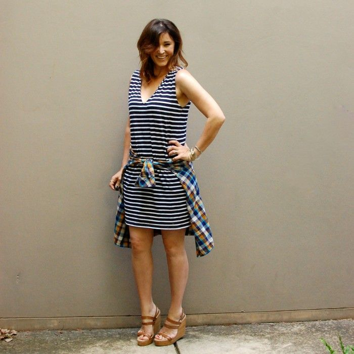 Short Striped dress with plaid shirt and tan wedges. Mixing prints