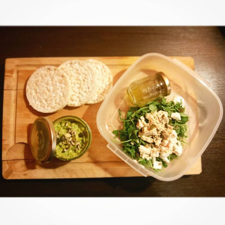 Tomorrow's #lunchbox with Mashed #Avocado with #lime #curcurma and #pimentespelette and some #seeds #pinions #zucchiniseed #sunflowerseeds #ricecrackers and a #fetacheese #salad (what's it name in English ? In French we call that salad roquette) #Springoinion and a #vinaigrette : #Oliveoil and #lime  #Healthy #organic and #yummy  #healthylunch #homadefood #whatveganeat #cleaneats #Pureskinfood #skintoxbeautyfood #summerfood