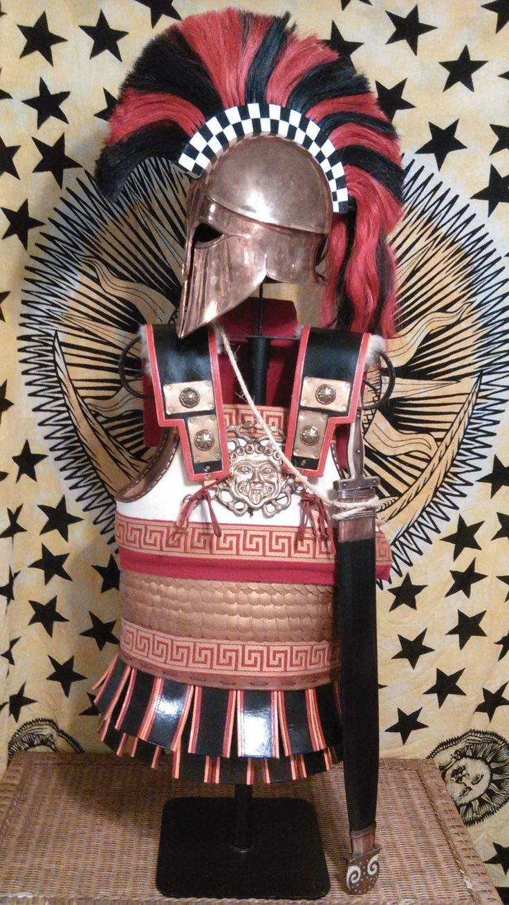 Hoplite armour and 'Denda style' Corinthian helmet - set by David McDowell, chest protection by Mat Poitras from MP Film crafts. Front view. More info avaliable at 'The International Hoplite Discussion Group' on Facebook.