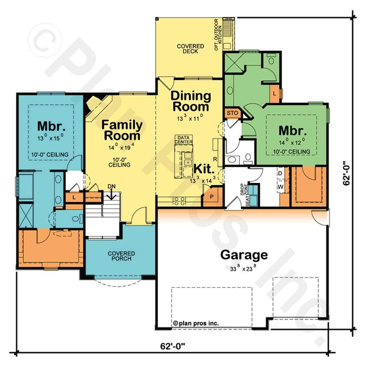 House plans with two master suites on one level for One story house plans with two master suites