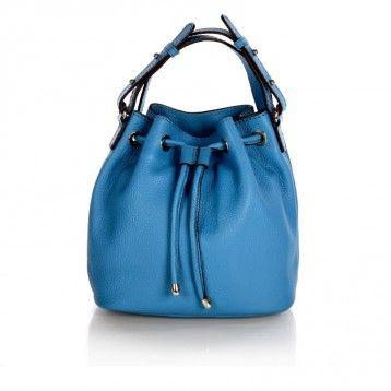 Loxwood - Mini sac seau cuir bleu Heaven, bandoulière réglable