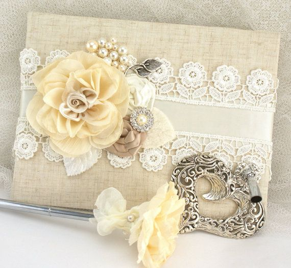 Wedding Guest Book and Pen Set Shabby Chic Vintage Inspired in Ivory and Champagne with Linen and Lace on Etsy, $130.00