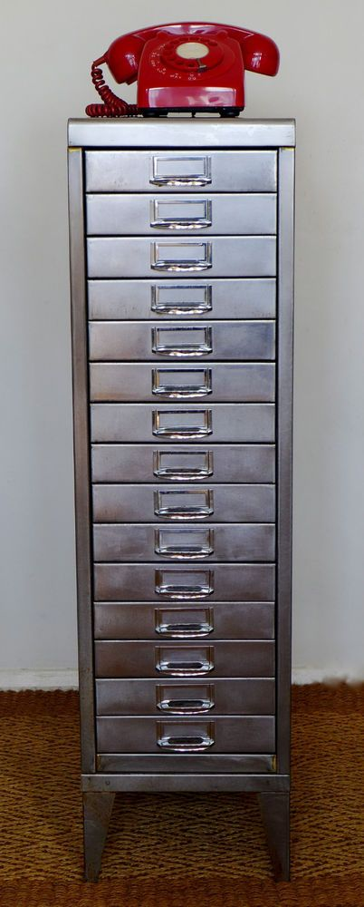 vintage industrial stripped and polished steel filing cabinet 15 drawers