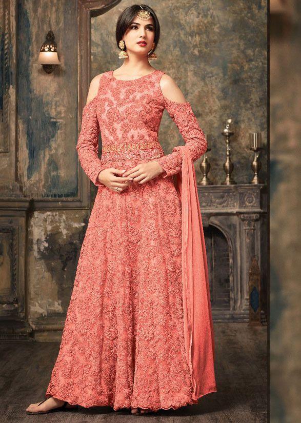 Sonal Chauhan Coral Pink Designer Anarkali Suit