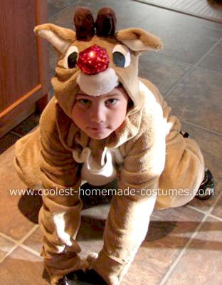 Homemade Rudolph the Red Nosed Reindeer Costume: When my son was younger he enjoyed dressing up as animals. This year (2007) he wanted a Homemade Rudolph the Red Nosed Reindeer Costume. I used a child-sized
