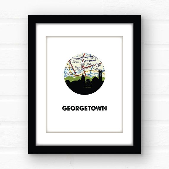 Georgetown Texas map art  Texas wall art  by PaperFinchDesign
