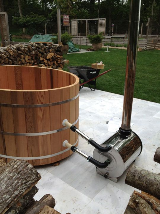 for new patio - How To Assemble a Cedar Hot Tub & Chofu Wood Stove | awesome!  Wood heated - 10 degrees per hour!  no mechanical sound