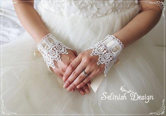 Lace Bridal Gloves, Fingerless Gloves, Wedding Cuffs, Bridal Accessories, Bridal Wrist Gloves