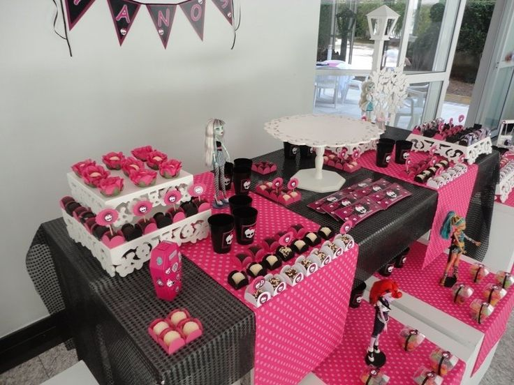 Festa Monster High, preto, rosa e branco