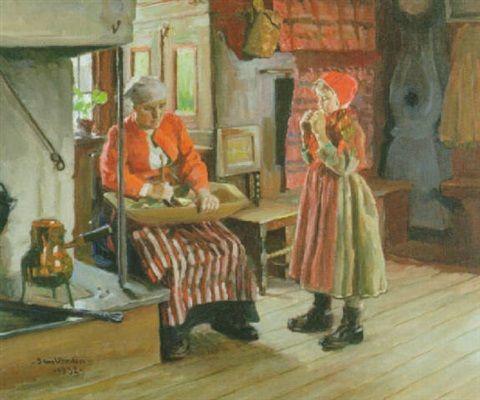 Sam Uhrdin. INTERIÖR MED KVINNA OCH BARN. 1932. Olja på duk. 54 x 65 cm
