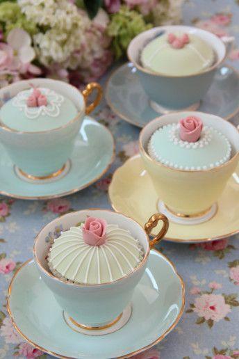 Cute little tea cup / cupcake display idea | Afternoon Tea Wedding Inspiration at Boringdon Hall