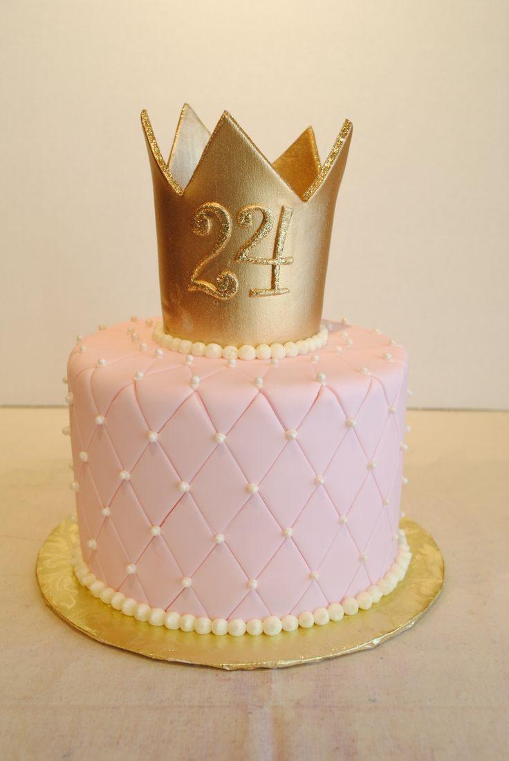 Princess cake. Fondant quilted pin cushion with gold crown and edible glitter.
