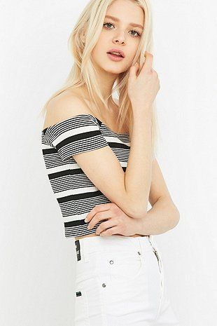 Urban Outfitters Black and White Striped Bardot Top - Urban Outfitters