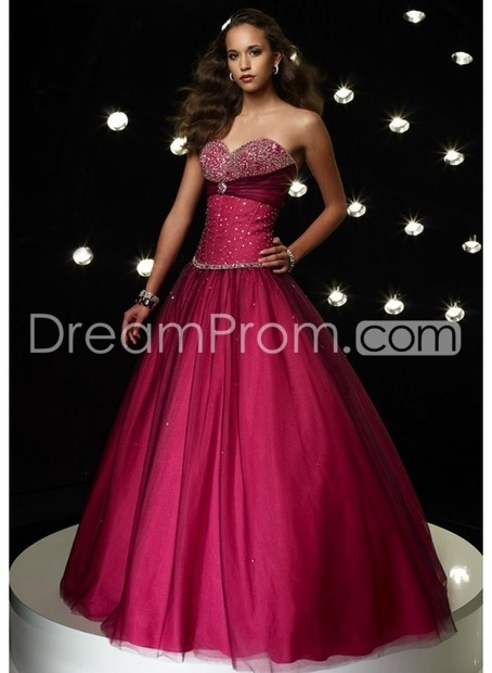 Tulle Beaded Strapless Sweetheart Neckline with Ball Gown  Prom Dress P-0059