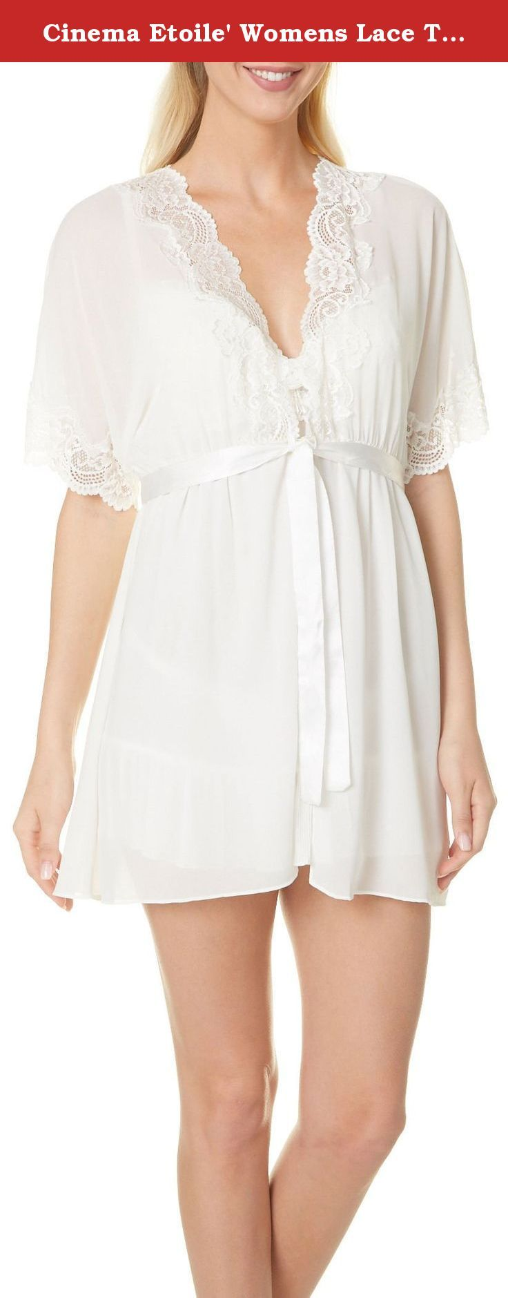 Cinema Etoile' Womens Lace Trim Short Robe X-Large White. Cinema Etoile' offers sophisticated lingerie with a flirty feminine flair. This robe features a sheer design, scalloped lace trim, and a solid satin belt. Perfect for bridal gifting. 100% Polyester.