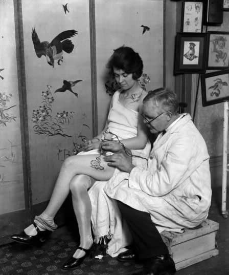 1920's get'n inked....check out the lab coat :)