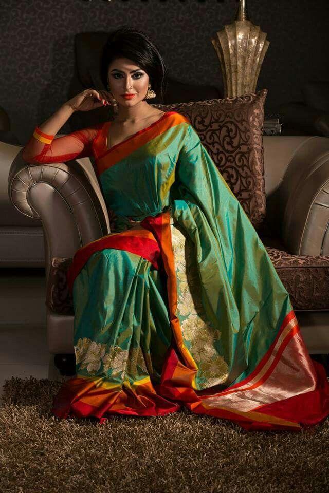 Katan Saree | Fashion | Katan saree, Saree, Modern saree