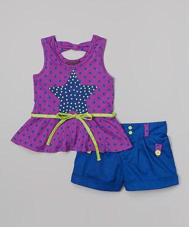 Look at this #zulilyfind! Purple Star Peplum Tank & Shorts - Toddler & Girls #zulilyfinds